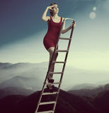 Beautiful girl in the sky Royalty Free Stock Photo