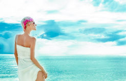 beautiful girl in the sky Stock Images