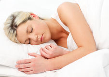 Beautiful girl sleeping in bed Stock Photo