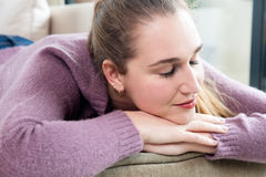 Beautiful girl sleeping, enjoying wellbeing and free time at home Royalty Free Stock Photos