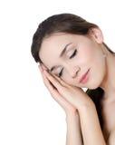Beautiful girl sleeping on the hands Royalty Free Stock Photo