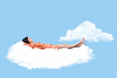 Girl on a cloud Royalty Free Stock Images