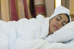 Beautiful girl sleeps in the bedroom Royalty Free Stock Images
