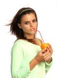 Beautiful girl with sliced orange Stock Photo