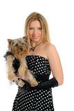 Beautiful girl with small cute york terrier dog Royalty Free Stock Photography