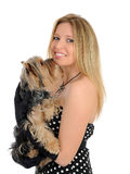 Beautiful girl and small cute york terrier dog Stock Photography