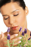 Beautiful girl smell lavender flowers. Beautiful girl smell purple lavender flowers Royalty Free Stock Images