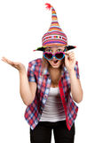 Beautiful girl smiles in colour hat Royalty Free Stock Photo
