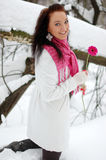Beautiful girl smiling. Frost, winter. Royalty Free Stock Photography