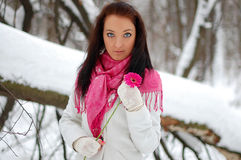 Beautiful girl smiling. Frost, winter. Beautiful brunette girl smiling, holding a pink flower. Winter, snow, frost Stock Photo