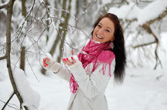 Beautiful girl smiling. Frost, winter. Stock Image