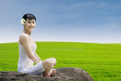 Beautiful girl smiling outdoor Stock Photography