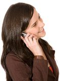 Beautiful girl smiling on the phone Royalty Free Stock Image