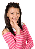 Beautiful girl smiling in pink Royalty Free Stock Images