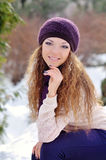 Beautiful girl smiling in winter park Royalty Free Stock Photos