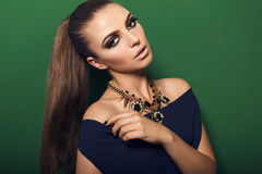 Beautiful girl with smokey eyes makeup and bijou Royalty Free Stock Photography