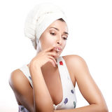 Beautiful Girl Smoking after Bath Royalty Free Stock Image