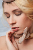Beautiful girl and the snake Boa constrictors Stock Photography