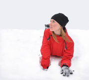 The beautiful girl on a snow Stock Image