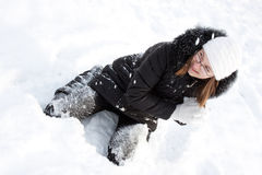 Beautiful girl in snow. Royalty Free Stock Images