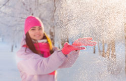 Beautiful girl with snow Royalty Free Stock Photos