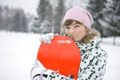 Beautiful girl snowborder Royalty Free Stock Photography