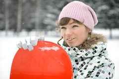 Beautiful girl snowborder Stock Photography