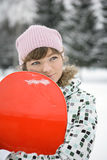 Beautiful girl snowborder Royalty Free Stock Image