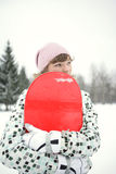 Beautiful girl snowborder Royalty Free Stock Photos