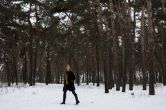 Beautiful girl in a snowy forest. Blonde with long hair. Smiling little. Beautiful girl in a snowy forest. Blonde with long hair. Smiling Royalty Free Stock Photography