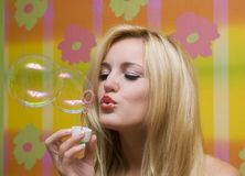 Beautiful girl with soap bubbles Royalty Free Stock Photos