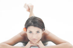 Beautiful girl at spa. Girl waiting for massage and spa session. Landscape orientation Royalty Free Stock Images