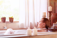 Beautiful girl in the spa hotel Royalty Free Stock Photo