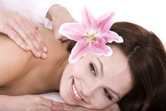 Beautiful girl on spa  massage.Isolated. Stock Photo
