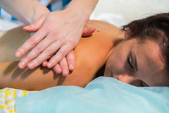 Beautiful girl at spa procedures royalty free stock images