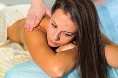 Beautiful girl at spa procedures stock image