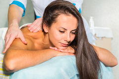 Beautiful girl at spa procedures royalty free stock photography