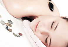 Beautiful girl in spa salon stock images