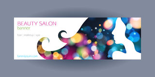 Beautiful girl spa salon banner template. Colorful glow bokeh background with lady's silhouette Stock Photography