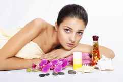 Beautiful  girl spa on white background Stock Photo