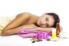 Beautiful  girl spa on white background Stock Photography