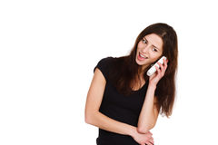 Beautiful girl speaking on telephone Royalty Free Stock Photos