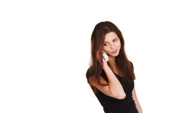 Beautiful girl speaking on telephone Stock Image