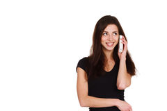 Beautiful girl speaking on telephone Royalty Free Stock Photography