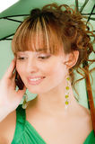 Beautiful girl speaks on phone Royalty Free Stock Image