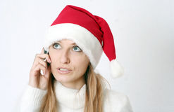 Beautiful girl speaks by phone Stock Images