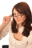 Beautiful girl spectacled. Royalty Free Stock Photos