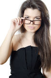 The beautiful girl in spectacles Stock Images