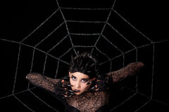 Beautiful girl with spider makeup Royalty Free Stock Photos