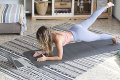 Free Beautiful Girl Sport At Home . Fitness Exercise, Abs , Smart Training, Exercise, Home Workout - Push Up Balanced Position For Heal Stock Photography - 216039822